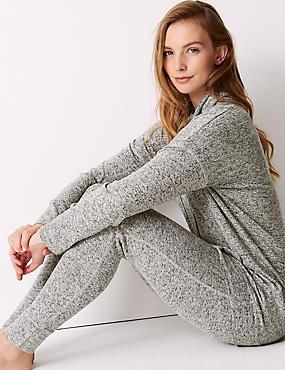 Cosy Knit Cowl Neck Longline Pyjama Top, GREY, catlanding