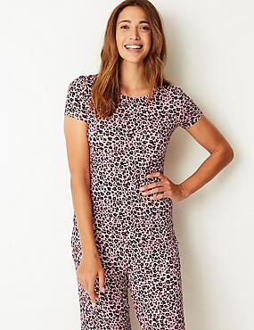 Animal Print Short Sleeve Pyjama Top, PINK MIX, catlanding