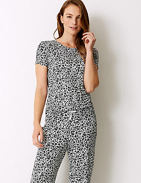 Animal Print Short Sleeve Pyjama Top, GREY MIX, catlanding