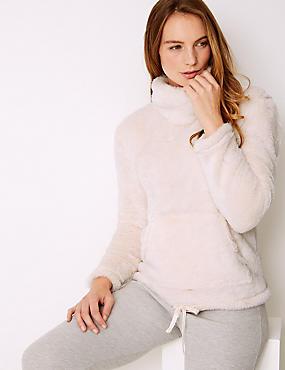 Fleece Textured Long Sleeve Pyjama Top, PINK, catlanding