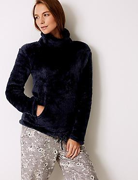 Fleece Textured Long Sleeve Pyjama Top, NAVY, catlanding