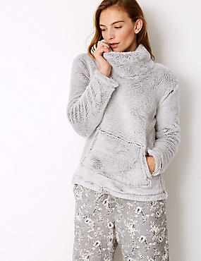 Fleece Long Sleeve Pyjama Top, GREY, catlanding