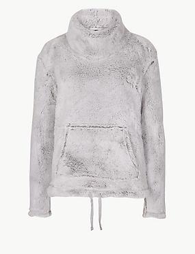 Fleece Textured Long Sleeve Pyjama Top, GREY, catlanding