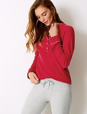 Cotton Blend Textured Long Sleeve Pyjama Top, RED, catlanding