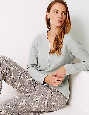 Cotton Blend Textured Long Sleeve Pyjama Top, OATMEAL, catlanding