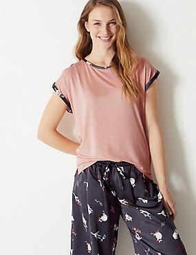 Short Sleeve Pyjama Top, PINK MIX, catlanding
