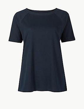 Short Sleeve Pyjama Top, NAVY MIX, catlanding