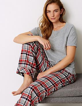 Short Sleeve Pyjama Top, GREY MIX, catlanding