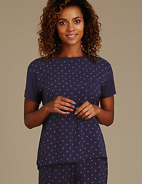Star Print Short Sleeve Pyjama Top