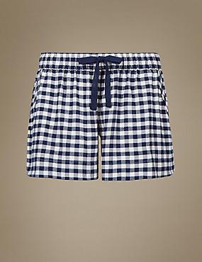 Checked Pyjama Shorts, NAVY MIX, catlanding