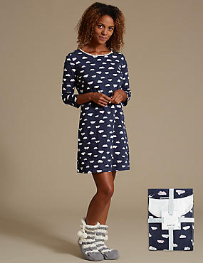 Pure Cotton Cloud Print Nightdress