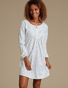 Pure Cotton Shadow Print Nightshirt