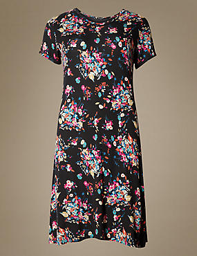 Satin Floral Short Sleeve Nightdress