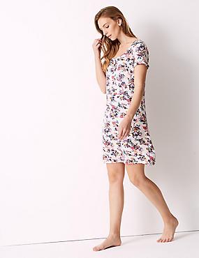 Floral Print Short Sleeve Nightdress , PINK MIX, catlanding