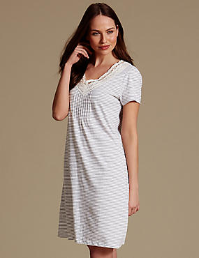 Modal Blend Crochet Trim Short Nightdress