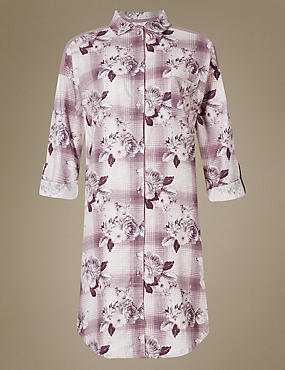 Cotton Blend Floral Print Nightshirt
