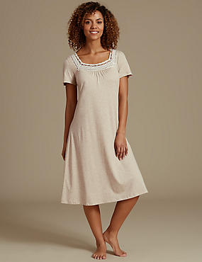 Modal Blend Short Sleeve Crochet Nightdress