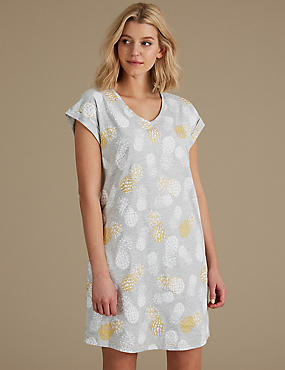 Cotton Rich Printed Short Nightdress