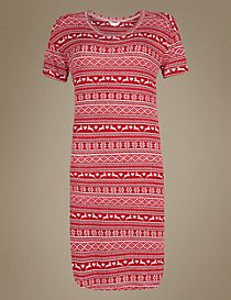 Fairisle Print Short Sleeve Nightdress