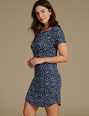 Star Print Glitter Short Sleeve Nightdress