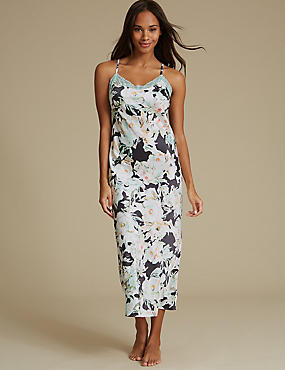Floral Print Satin Nightdress, CHARCOAL MIX, catlanding