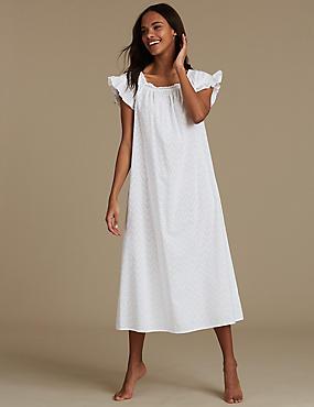 Pure Cotton Textured Short Sleeve Nightdress, WHITE, catlanding