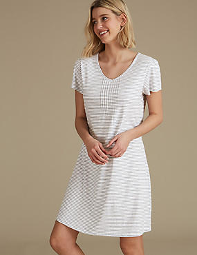 Modal Blend Striped Short Nightdress