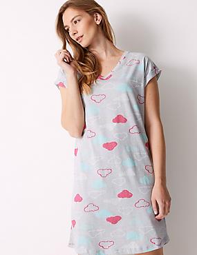Cotton Rich Cloud Print Nightdress, BLUE MIX, catlanding