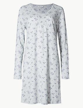 Modal Blend Ditsy Floral Print Nightdress  , GREY MIX, catlanding