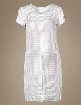 Maternity Striped Nightdress, GREY MIX, catlanding