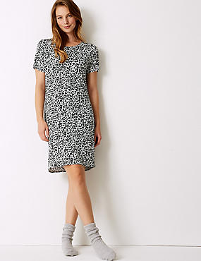 Animal Print Short Sleeve Nightdress, GREY MIX, catlanding