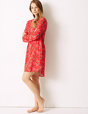 Cotton Rich Llama Print Nightdress, RED MIX, catlanding