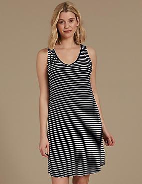 Tie Back Striped Nightdress, NAVY MIX, catlanding