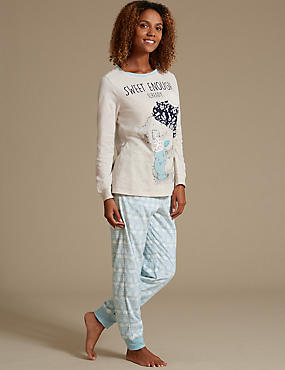 Cotton Rich Long Sleeve Fleece Pyjamas