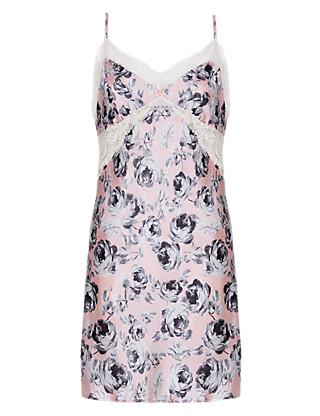 Pure Silk Rose Print Chemise Clothing
