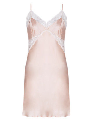 Pure Silk Chemise Nightdress with French Designed Lace Clothing