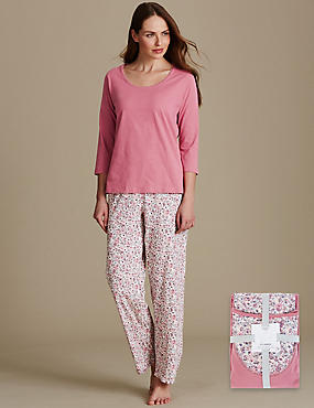 Pure Cotton Printed 3/4 Sleeve Pyjama Set