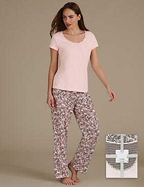 Pure Cotton Palm Leaf Print Pyjama Set