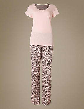 Pure Cotton Palm Leaf Print Pyjamas