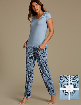 Pure Cotton Leaf Print Pyjamas