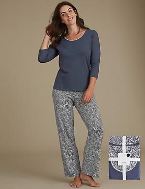 Pure Cotton Printed ¾ Sleeve Pyjama Set, NAVY MIX, catlanding