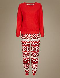 Fairisle Print Long Sleeve Pyjamas
