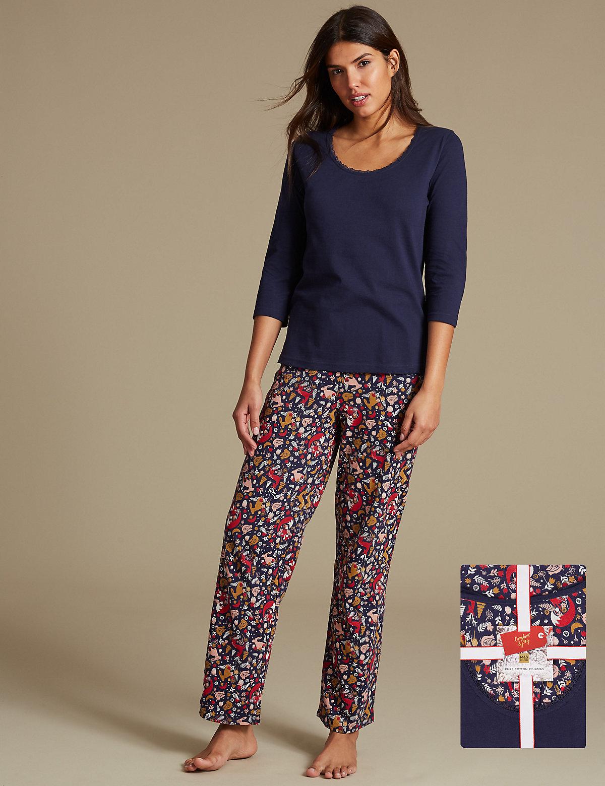 Black t shirt nightdress - Pure Cotton 3 4 Sleeve Pyjamas With Staynew Trade