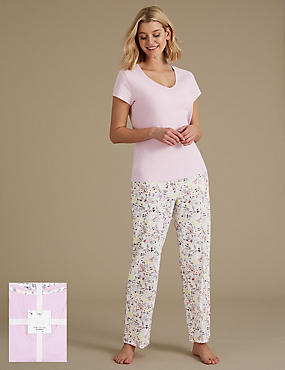 Pure Cotton Printed Short Sleeve Pyjama Set , LILAC MIX, catlanding