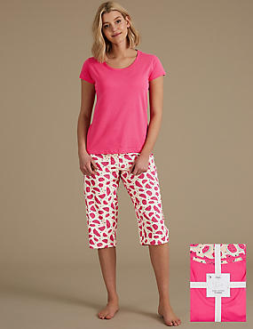 Pure Cotton Printed Cropped Pyjama Set, CORAL MIX, catlanding