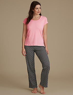 Pure Cotton Spot Short Sleeve Pyjamas Set, GRANITE, catlanding