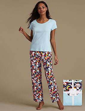 Pure Cotton Floral Print Pyjama Set, BLUE MIX, catlanding