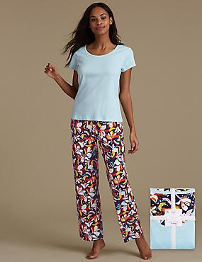 Pure Cotton Floral Print Short Sleeve Pyjamas, BLUE MIX, catlanding