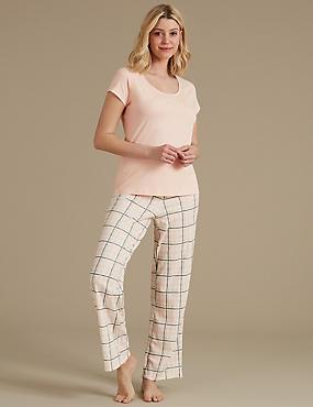 Pure Cotton Checked Pyjama Set, PEACH MIX, catlanding