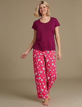 Pure Cotton Printed Short Sleeve Pyjama Set, PURPLE MIX, catlanding